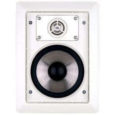 Use in-wall speakers from Leviton/JBL, connected to an HAI by Leviton distributed audio system.  Hide the wires and sink those speakers into your wall (or ceiling).