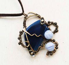 Master of Cloud Navy Blue Agate Blue Lace Agate Ingot Metal Wire Wrap Pendant #Jeanninehandmade #Pendant