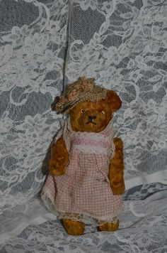 Old Teddy Bear Miniature Jointed Dressed Glass Eyes Doll Size