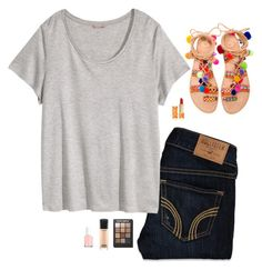 """""""Untitled #396"""" by oh-so-rachel on Polyvore featuring Elina Linardaki, Hollister Co., H&M, Tory Burch, Sonia Kashuk, MAC Cosmetics and Essie"""