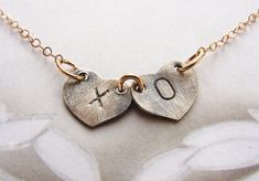 XO kiss hugs Initials necklace personalized initial by soradesigns, $28.34