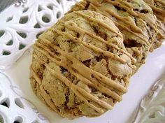 Cafe Coffee Cookies | Tasty Kitchen: A Happy Recipe Community!  WILL be making these for wedding favors  I made them without the pecans and only used 1 C. semi sweet chocolate chips.  Use an icecream scoop to put 6 on an air-bake sheet, bake at 350 for 17-20 minutes.  Allow to cool on sheet for about 3-4 minutes, then remove the cool