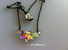 Galaxy holograph BAT necklace laser cut on Etsy, $12.56