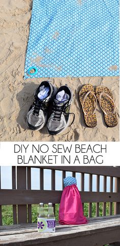 Sewing Blankets This DIY no sew beach blanket rolls up into a bag for easy carrying AND can be staked down for windy days. It's practically perfect! Easy Sewing Projects, Cool Diy Projects, Sewing Tutorials, Sewing Tips, Sewing Hacks, Sewing Ideas, Sewing Patterns, Beach Hacks, Romantic Beach