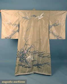 Embroidered Ivory Silk Kimono, Late 19th C, Augusta Auctions, October 2006 Vintage Clothing & Textile Auction, Lot 818