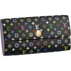 LOUIS VUITTON MONOGRAM MULTICOLORE SARAH WALLET M60273  - Monogram Multicolore canvas, grained leather lining, golden brass pieces  - Press stud closure  - Ten credit card slots (four in front, six inside)  - One large pocket for bills and receipts  - Two large compartments for notes and papers  - One zipped compartment for coins  http://www.onlineforlouisvuitton.com/