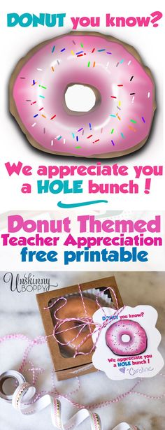 Donut Teacher Appreciation Free Printable -- Donut you know? We appreciate you a. , Donut Teacher Appreciation Free Printable -- Donut you know? We appreciate you a Hole bunch. So cute for teachers or Mother's Day gift ideas. Diy Gifts For Mothers, Diy Gifts For Kids, Teacher Birthday, Kids Birthday Gifts, Diy Birthday, Volunteer Appreciation Gifts, Volunteer Gifts, Mother Christmas Gifts, Diy Christmas