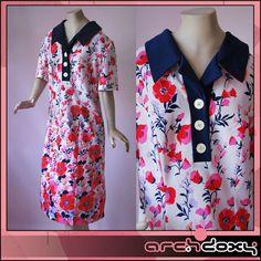 Vintage 1960s MOD Scooter Twiggy Crimplene Shift Print Floral Border Dress UK20
