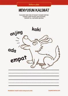 belajar membaca & menulis anak TK/SD, menyusun kata menjadi kalimat & mewarnai gambar anjing