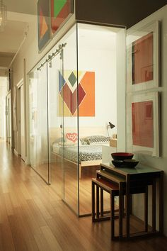 Glass bedroom wall, Looks cool, but No, I just don't think this is going to work for me. But, it would allow light to a room with no windows.