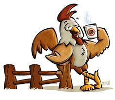Mascote Café com Galo