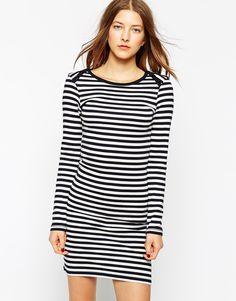 Ganni Long Sleeve Classic Striped Bodycon Dress