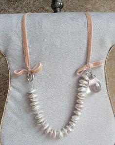 Silk Velvet Pearl Topaz and Silver Necklace  by HouseofRishavy, $650.00