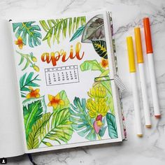 25 Incredible tropical bullet journal spreads to inspire your next vacation (and my Hawaii stationery haul! Bullet Journal Spreads, April Bullet Journal, Bullet Journal Inspo, Bullet Journal Layout, Bullet Journal Leaves, Bullet Journal Decoration, Journal Inspiration, Journal Ideas, Bullet Journal Vacation