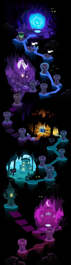 Mighty Monsters Map Concepts par Little Munster Game Design, Bg Design, 2d Game Art, 2d Art, Environment Concept Art, Environment Design, Level Design, Map Games, Game Background