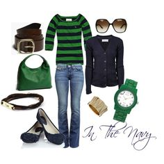 Green and navy casual outfit