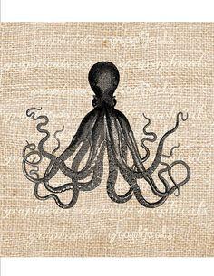Digital download sheet Vintage octopus sea ocean by graphicals, $1.00