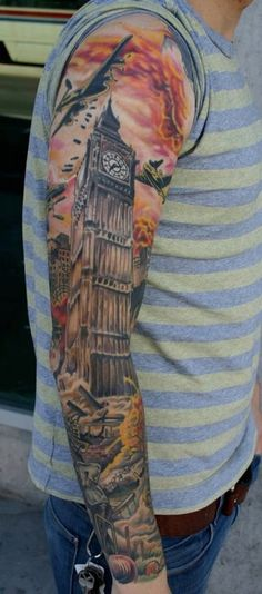 london tattoo full sleeve underground bigben by mistameterz tattoo pinterest london. Black Bedroom Furniture Sets. Home Design Ideas