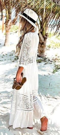 ec29bebdc0  spring  outfits Light Hat + White Lace Maxi Dress ✨ outfits for women  Modelos