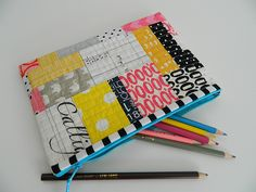 pink/ yellow/ black patchwork pouch