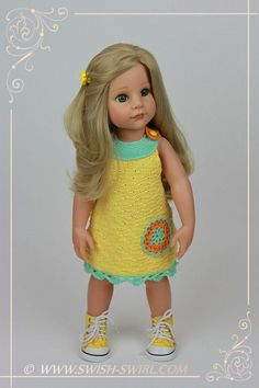 Yellow crochet dress for Gotz doll Hannah #gotz #goetz #gotzdoll #swishandswirl