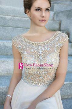 Luxury Scoop Neckline Floor Length A Line Chiffon Prom Dress With Beading USD 188.99 NPSP2CZ94EZ - NewPromShop.com