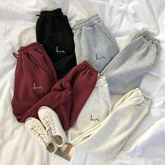 OFF Mooirue Winter Women Harem Pants Stripes Embroidery Gray Black Fleece Pants Bottom Cute Lazy Outfits, Cute Outfits With Sweatpants, Sweatpants Style, Sporty Outfits, Trendy Outfits, Brunch Outfit, Outfits Damen, Fleece Joggers, Hoodie Outfit