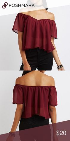 Off Shoulder Oxblood Burgundy Top So cute! Worn once. Beautiful off shoulder detailing and boning in the bodice so it stays put! Tops