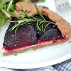 A Rustic Beetroot Galette with a nutty buckwheat crust and creamy almond filling.