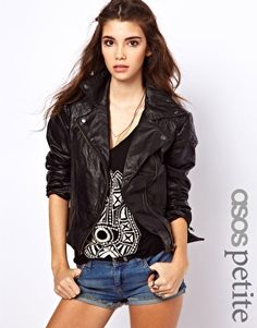ASOS PETITE Leather Biker Jacket