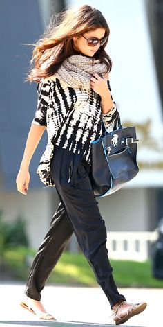 Selena Gomez's Stylish Take On The Tie-Dye Trend. L.A.M.B. Mad Clash Trousers ($345) Versace bag Zara sandals