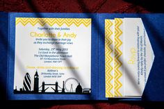 London themed cobalt blue and yellow wedding invites - homemade