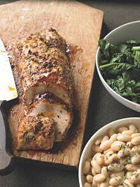 Roast Pork Loin Porchetta-Style with Lemony White Beans - Healthy Recipe Finder | Prevention