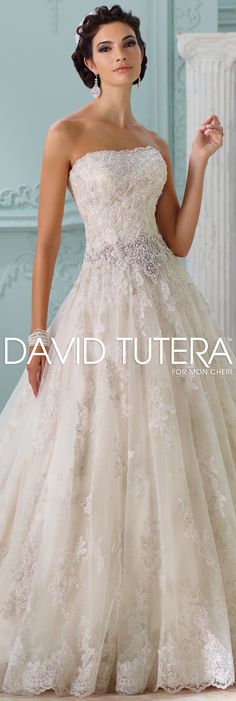 The David Tutera for Mon Cheri Spring 2016 Wedding Gown Collection - Style No. 116230 Jelena #laceweddingdresses