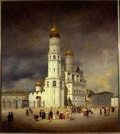Russian Architecture, Church Architecture, Russian Painting, Russian Art, Great Paintings, Landscape Paintings, Pictures Of Russia, Moscow Kremlin, Winter Painting