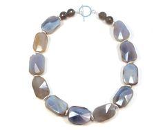Chunky grey agate necklace. Grey agate beaded slab by RockRhapsody