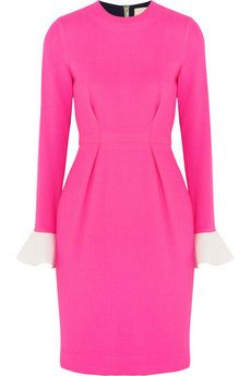 Rosanda Ilincic 'Izumi' neon pink color-block wool-crepe dress, get it here: http://rstyle.me/~2kfUc
