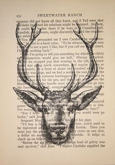 stag head print on vintage text picture on VisualizeUs