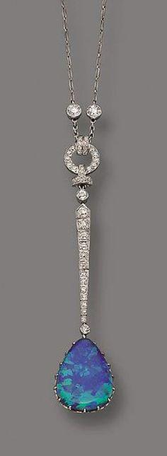 BLACK OPAL AND DIAMOND LAVALIERE, MARCUS & CO ., CIRCA 1910