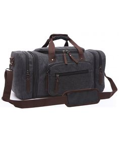 2de6513af2fb Canvas Duffel Bag Vintage Canvas Weekender Bag Travel Bag Sports Duffel  with Shoulder Strap - Black - C312GY4O82D