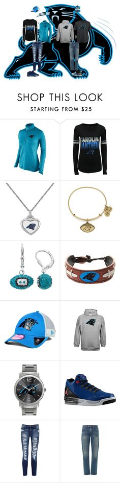 """Carolina Panthers"" by jenabbyreid on Polyvore featuring NIKE, 5th & Ocean, Alex and Ani, GameWear, New Era, Game Time, Current/Elliott and 3x1"