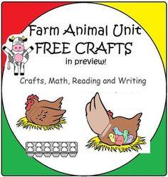 Farm Unit with Animal Crafts, Math and Literacy: Free Craf