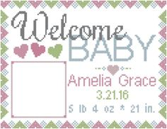 A personal favorite from my Etsy shop https://www.etsy.com/listing/286870969/modern-baby-birth-record-cross-stitch