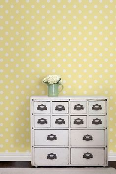 Polka dots are classic and cute for kids d̩cor! This baby wallpaper takes a happy yellow palette & adds a touch of whimsy with perfectly placed white polka dots Temporary Wallpaper, Baby Wallpaper, Trendy Wallpaper, Peel And Stick Wallpaper, Bedroom Wallpaper, Shabby Chic Dressing Table, Stone Wall Design, Wallpaper Nature Flowers, Buy Wallpaper Online