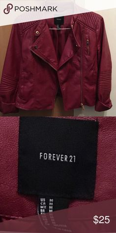 Forever 21 Red Faux Leather Jacket Red Faux Leather Jacket. I'm excellent condition. Only worn once. Zippers and adornments are bronze Forever 21 Jackets & Coats Jean Jackets