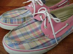 Sperry Top-Sider Bahama Pink & Blue Plaid Boat Deck Shoe Womens size 10 M #SperryTopSider #BoatShoes