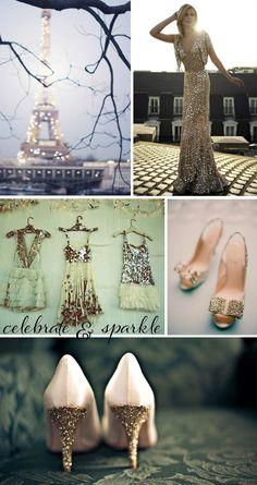 New Year's Eve Wedding - Eiffel Towel, Dress: The Glitter wedding dress,  Gold Heels, 2014 valentine's day ideas  www.loveitsomuch.com