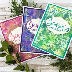 Christmas cards by Autumn Clark using Darkroom Door Yuletide Greetings stamps with Distress Oxide inks Handmade Christmas, Christmas Diy, Christmas Cards, Holiday, Birthday Sentiments, Ranger Ink, Distress Oxide Ink, Winter Cards, Ink Pads