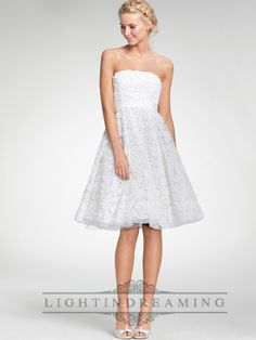 Strapless A-line Embroidered Tea Length Strapless Wedding Dresses