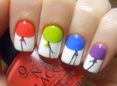 Colorful Balloon Nails Picture from Nail Designs. Birthday Balloon nails: Created with multiple nail polish colors and an orangewood stick. Get Nails, Fancy Nails, Love Nails, How To Do Nails, Pretty Nails, Hair And Nails, Nail Art Designs, Fingernail Designs, Nails Design